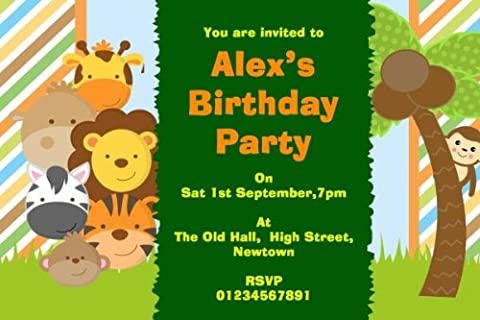 10 x CUTE LITTLE JUNGLE ANIMALS THEME PERSONALISED BIRTHDAY PARTY