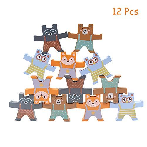 XIAPIA Holztiere Stapelspielzeug für Jungen und Mädchen ab 3 Jahre | Baby Motorik Spielzeug für Kinder als Neujahr Geschenk | 12 Stücke Waldtiere Klötzchenturm