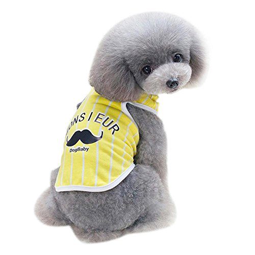 Hund Sommer Baumwolle Ärmellos T-Shirt Streifen Bart Gedruckt Nette Sommerkleidung Hundekatze Kleidung Weste (S, Gelb) (Hund Bart Kostüm)