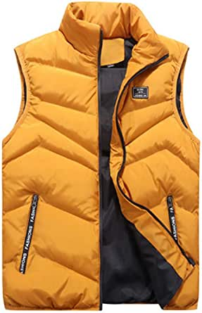 Inlefen Men's Leisure Down Cotton Coat Sleeveless Keep Warm Slim Fit Padded Packable Vest Jacket with Pockets