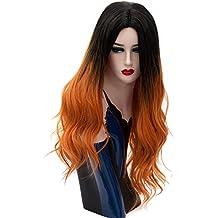 Peluca natural llena rizada del pelo largo de oro para la peluca del traje del partido de Víspera de Todos los Santos Chirstmas 70cm + Gorra de peluca