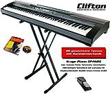 Clifton Stage Piano mit Sustainpedal, Netzteil und doppelstrebigen Keyboardständer, Notenbuch und Karaoke CD
