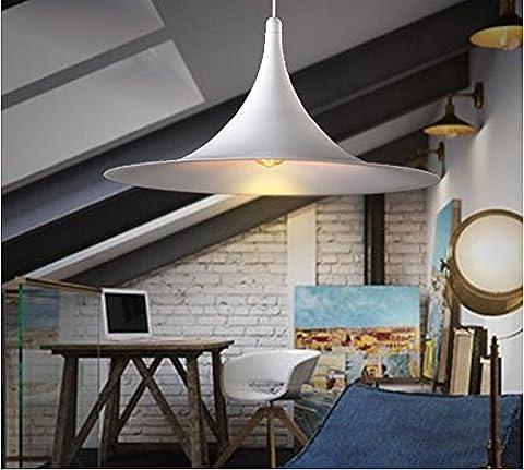 Moderne Minimaliste Classique Fer Lustre Créatif Design Suspensions Luminaires Décoration de Maison Bar Cuisine salon Restaurants Café Couloir Club Luminaire suspendu E27 Ampoule (blanc)