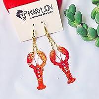 Boucles d'oreilles au homard - Boucles d'oreilles animales - Bijoux au homard - Bijoux en coquillage - Cadeaux pour elle - Bijoux à la mode - Boucles d'oreilles à la mode