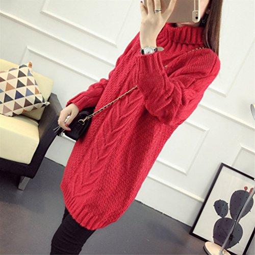 CHENGYANG Donna Casuale Collo Alto Maglioni Maniche Lunghe Pullover Maglia Lungo Trecce Maglione Tops Rosso