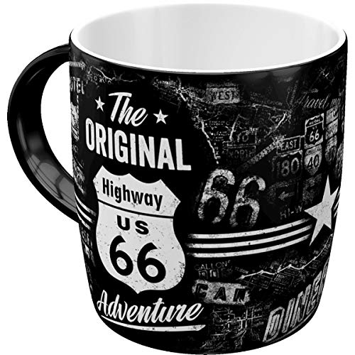 Nostalgic Art 43012 Retro Kaffee-Becher Highway 66 - The Original Adventure, Große Tasse mit tollem USA-Motiv, Geschenk-Idee für Biker & Vintage-Liebhaber, 330 ml