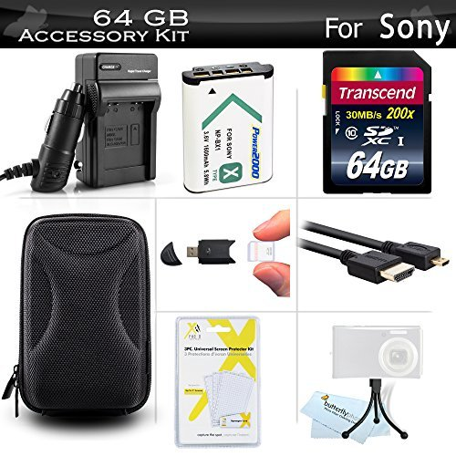 64GB Accessories Bundle Kit For Sony DSC-RX100M III DSC-RX100 IV DSC-WX350 DSC-HX50V DSCHX90V/B DSCWX500/B Camera Includes 64GB High Speed SD Memory Card + Extended Replacement NP-BX1 Battery + Charger + Case + More  available at amazon for Rs.8293