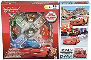 Disney Pixar Cars Pop Up Children's Board Game Frustration & Bonus 2 Lenticular Jigsaw Puzzle Set