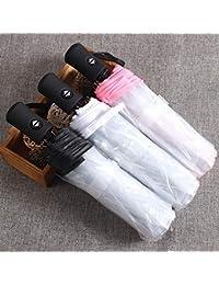 Compacto Totalmente Automático Paraguas Tres Plegables Paraguas A Prueba de Viento Claro Mujeres Hombres 8 Costilla