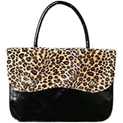 Rockabilly Anima de Leopardo Bolso, Leopardo marrón (Negro) - 22615