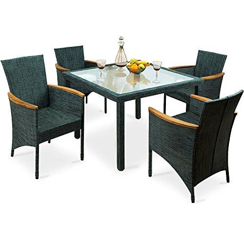 Deuba 4+1 Sitzgarnitur Gartengarnitur | 4 Stühle + 1 Glastisch | Armlehnen aus Akazienholz | angenehmer, atmungsaktiver Textilbezug - Sitzgruppe Essgruppe Gartenset Gartenmöbel Set