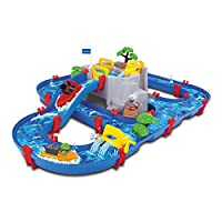 AquaPlay 8700001542 Waterway Kids Table | Mountain Lake Water Play Canal System Toy with Lock Gates, Crane, Speed Boat & Animal Figures | Ages 3+, Suitable Years