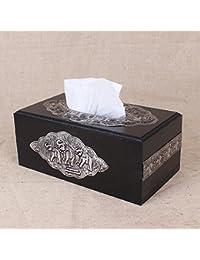 XBR Casa de madera solida caja de pañuelos, toallas de papel caja de madera maciza, Hotel Club, estaño pintura,Un