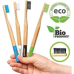 Cepillos de dientes de Bambú, Paquete de cepillos Ecológicos , 100% Orgánicos, Biodegradables, Naturales y Veganos. 4 Unidades con cerdas de carbón naturales, vegetales y suaves. Libres de BPA para la mejor limpieza bucal.