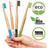 DUAMY Cepillos de Dientes de Bambú Ecológicos, 100% Orgánicos, Biodegradables, Naturales y con cerdas de carbón Suaves