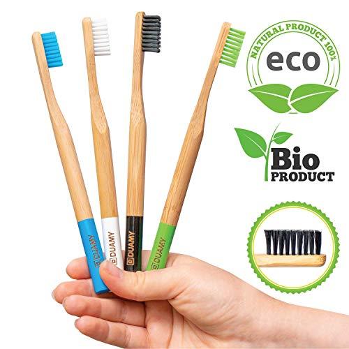 Bambus Zahnbürsten weich - mittle. 4 Holzzahnbürste, bambus zahnbürsten farbig. Biologisch abbaubare Zahnbürste, vegan. Bambus ökologisch, nachhaltig, umweltfreundlich. 100% frei von BPA, ohne Plastik