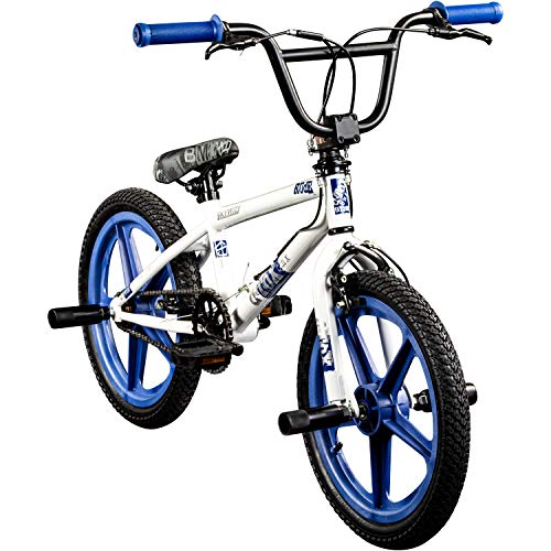 deTOX BMX 18 Zoll Rude Skyway Freestyle Bike Street Park Fahrrad viele Farben (weiß/blau) (Rad Und Weiß Blau-bmx)