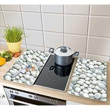WENKO 2521300100 Cubierta de cocina Universal Guijarros - juego de 2 piezas para todos los tipos de cocinas, Vidrio endurecido, 30 x 1.8-4.5 x 52 cm, Multicolor