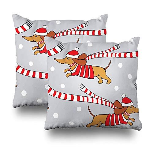Team Jersey-schal (Satz von 2 Kissenbezüge für Bett, Weihnachten Cartoon Bild Hund Dackel Red Jersey Schal Weihnachtsmütze Startseite Sofa Kissenbezug Kissenbezug Geschenk 45X45 cm)