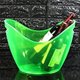 JLCP Eis Schaufel Kunststoff Ice Pellet Barrel Familienfeier Picknick Reise-Bar Wein Cocktail Kühler Platte Speichergerät 8L,Green