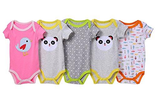 BOZEVON pack con 5 unidades Recién nacido Bebé Largo / corto Mangas Romper escalada manga algodón Niños Niñas Mono Body para Bebé