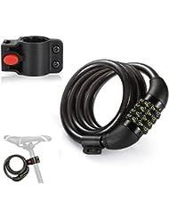 Bicicleta Candados Cable, yookoon duradero de 4feet Cable Candado para bicicleta, Basic Self coiling 4dígitos rückstellbare nevera Cadena Candado con soporte gratuito
