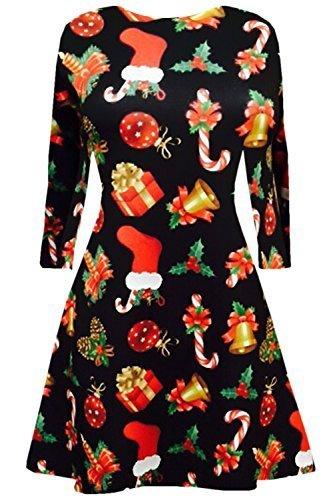 Neue Womens Kurzes Kleid Weihnachts Bäume Weihnachten Weihnachtsmann Schneemann Rentier Rudolph Geschenk Glocken Geschenk Damen Schaukel-oben - Geschenk & Bell Schwarz, Damen, M/L (UK 12/14)