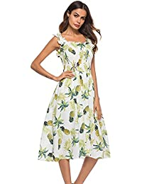 QQI Abito Stampa Floreale Donna Estate Manica Lunga Casual Senza Spalline Vestito,Corto/Lunga Fionda Vestiti Senza Maniche Elegante,Dress for Cocktail Beach Party