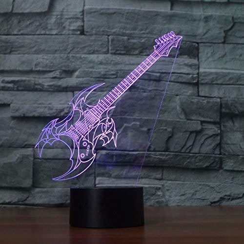 Guitarra Eléctrica Lámpara De Mesa Dormitorio Led 3D Oficina Música Decoración Del Hogar 7 Colores Que Cambian La Luz Nocturna Sueño Del Bebé Iluminación Niños Regalos