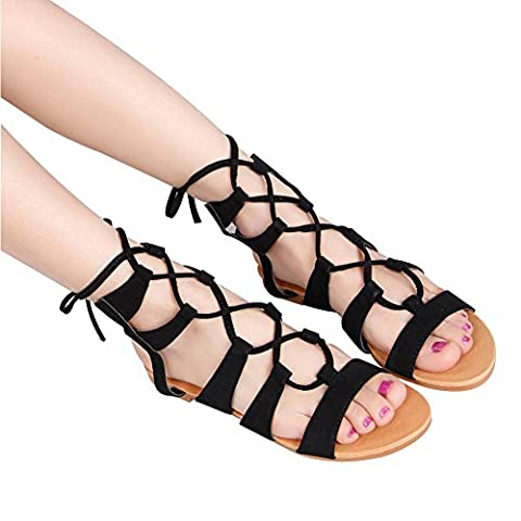 Women's Comfy Lace Up Flat Summer Strappy Gladiator Sandals Peep Toe Criss Cross Thong Casual Roman Sandals (41, noir)
