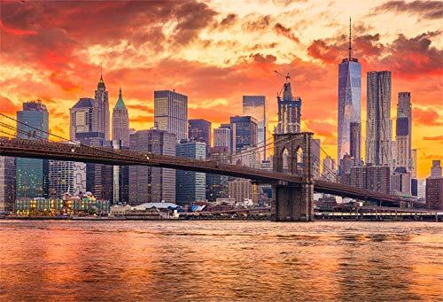 YongFoto 2,2x1,5m Vinyl Foto Hintergrund New York City Sunset Skyline Innenstadt Brooklyn Brücke East River Fotografie Hintergrund Fotostudio Hintergründe Requisiten