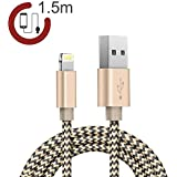 Zeuste Cable cargador iPhone Lightning [1.5m 1 pieza] de nylon para iPhone SE / 6S / 6/5 / 5C / 5S / SE iPad, iPod dorado.