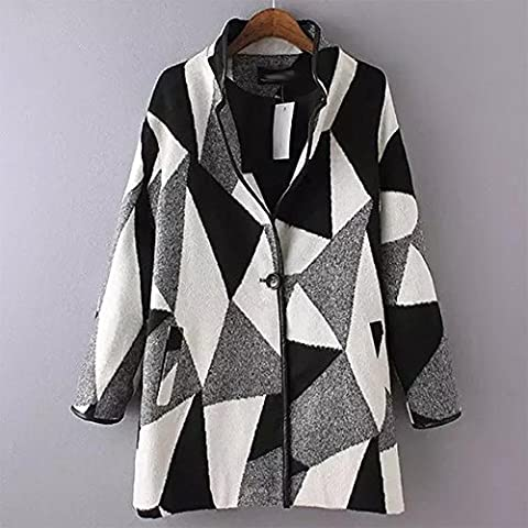 YUYU Señora otoño largo abrigo de lana cómoda adultos relajado manga larga , s , picture color