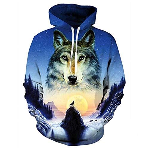 Mode 3D Sweatshirts mit Hut Drucken Bunte Blöcke Wolf mit Kapuze Hoodies Hip Hop Tops WEIYI-013 S