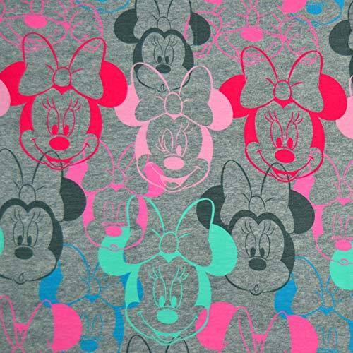 MAGAM-Stoffe Minnie Mouse Jersey Kinder Stoff Oeko-Tex Meterware 50cm (Auf grau meliert) (Stoff Minnie Mickey Und)