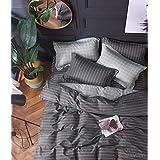 Housse de Couette 100% Coton Percale 80 Fils 240x220cm+2 Taies d'oreillers 65x65cm _MF-18
