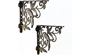 Casa Décor Metal Fowl Place Antique Bracket for Wall Shelves (Bronze, 7.5 X 7 Inches) - Set of 2