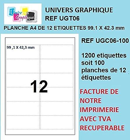 1200 étiquettes 99.1 x 42.3 mm soit 100 planches de