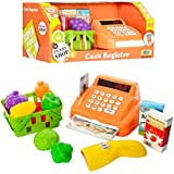 Toys N Smile Cash Register Pretend Play Toy with Basket Including Vegetables, Credit Card, Scanner (Orrange)
