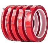 5 Rouleaux Ruban Acrylique Double Face Transparent Ruban de Montage Robuste Adhésif Amovible pour le Décor De Bureau à la Maison, Long de 3.28 Verges Chaque Rouleau, 5 Tailles (6/8/10/12/15 mm)