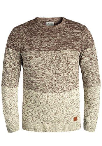 BLEND Garry Herren Strickpullover Feinstrick-Pullover mit Rundhals-Ausschnitt aus 100% Baumwolle Meliert, Größe:M, Farbe:Mocca Mix (70816) (Pullover Baumwolle Feine)