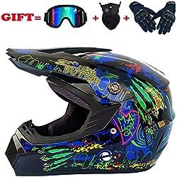 Po Adulte Motocross Casque Moto Casque Scooter Casque Casque Multicolor avec Lunettes Gants Masque,M