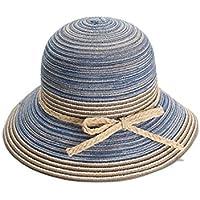 LBY Jardín Cómodo Color Algodón Hilado Plegable Domo Cuenco Pescador Sombrero Señoras Verano Sol Sombrero Sombreros de Sol (Color : Sky Blue, Tamaño : M(56-58))