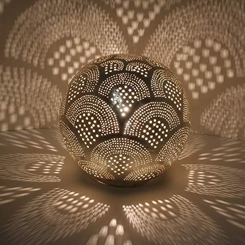 Orientalische Tischlampe marokkanische Nachttischlampe Tahir D22 Silber in Kugelform mit E14 Fassung | Echt versilberte Bodenleuchte aus Messing aus Marokko | ESL2045