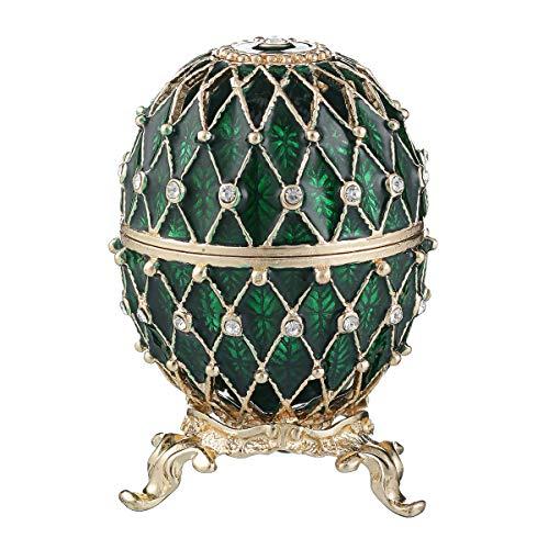 Russische Fabergé-Stil geschnitzt Ei/Schmuckkästchen mit Gitter 7,5 cm grün -