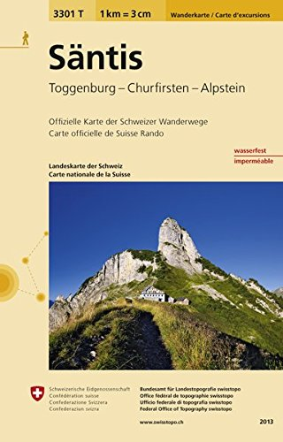 3301T Säntis Wanderkarte: Toggenburg - Churfirsten - Alpstein (Wanderkarten 1:33 333)