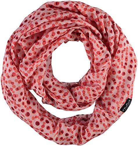 FRAAS Damen Rund-Schal mit Punkten im Rockabilly-Stil - 25% Seiden-Anteil - perfekt für Frühling und Sommer Koralle (Polka Schal Dot Rot)