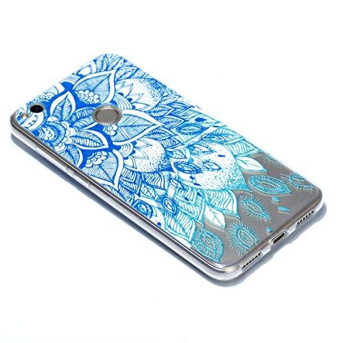 Coque Huawei P8 Lite 2017, Coque Huawei P8 Lite 2017 Case Silicone, Cozy Hut Coque Huawei P8 Lite 2017 Housse Transparent Etui en Silicone Soft Clear TPU Case Cover Housse Souple de Protection Coque M Feuilles bleu