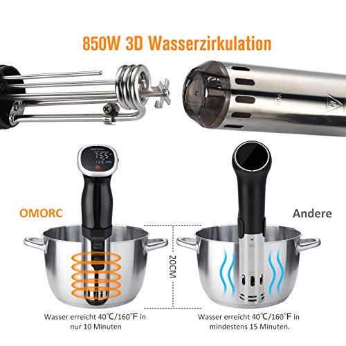 OMorc Sous Vide Stick, Auto-Off-Funktion, 850W Niedrigtemperatur Garer mit digital Display, Immersion Zirkulator, BPA-frei Präzisionskochtopf mit GS,RoHS,CE Zertifizierung(Rezept verfügbar) - 4