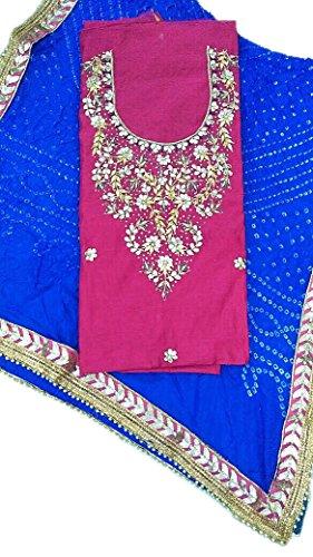 Jaipuri Rajasthani Handwork Chanderi cotton Kurti With Art Silk Bndhej Dupatta Oringinal...